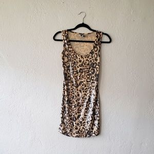 POOF COUTURE TAN/BLACK TIGER PRINT DRESS..SIZE S